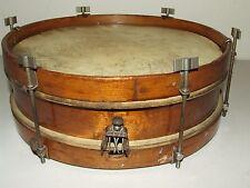 """Antique 1930's Rogers 12"""" Wood Snare Drum w/Wood Hoops & Nickel Thumb Screw Lugs"""