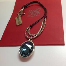 "NWT Uno de 50 Leather/Beads Necklace w/ Blue Swarovski Crystal 17""+1.5"" $275"