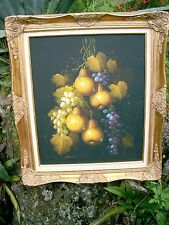 Vintage Mid Century Oil Painting Still Life Fruit French art J.Remstedt  nice