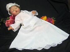 ANTIQUE Victorian era CHRISTENING gown DRESS baby DOLL clothes EMBROIDERY cotton
