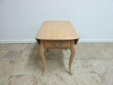 Ethan Allen Country French Carved Bisque Drop Leaf Lamp End Table Stand