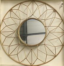 Gold Metal Geometric Geo Cut Out Round Mirror 50cm NEW Ethnic Moroccan Style