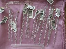 Glass Icicles Christmas Tree Ornaments Large Lot Twisted Clear + 2 Candy Canes