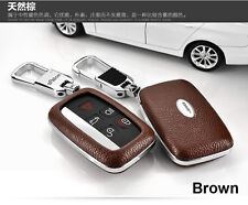 Brown Remote Real Leather Case FOB Key Cover Fit For Land Range Rover Evoque