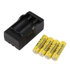 4pcs 14500 3.7V 2500mAh Rechargeable Li-ion Battery + Charger For Flashlight F5