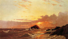 Perfect Oil painting Francis A. Silva - Off Newport, Rhode Island & waves sunset