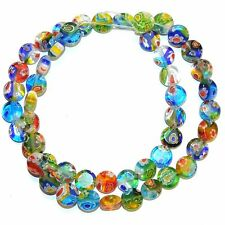 """G3568L Assorted Multi-Color Mix 8mm Flat Round Millefiori Flower Glass Beads 13"""""""