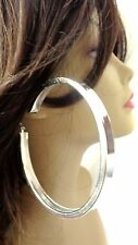 LARGE 4 INCH TUBE HOOP EARRINGS SILVER TONE HOOP EARRINGS