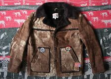 VTG 70s LEE RIDERS SUEDE LEATHER SHEARLING WESTERN RANCHER BARN COAT JACKET 44R