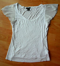 top H&M white blouse tshirt pleated cap floaty sleeve size s small 8 10 formal