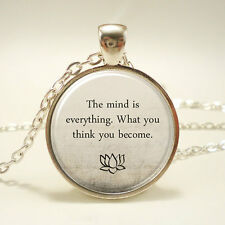 Buddha Quote Necklace, Inspirational Yoga Jewelery, Motivational Quote Pendant