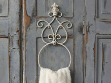 French Vintage Style Towel Ring, Antique White