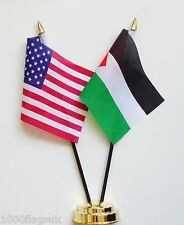 United States of America & Palestine Double Friendship Table Flag Set