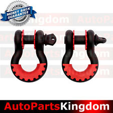 "1 Pair 3/4"" Black 4.75 ton D-ring Shackle+RED Isolator Washers Silencer Clevis"