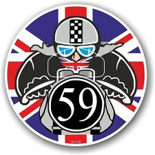 Retro Cafe Racer 1959 Ton Up Club Union Jack Flag Roundel vinyl car bike sticker