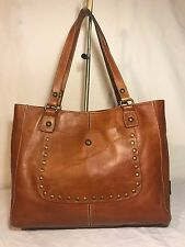Patricia Nash Messina Camel Tan Leather Shoulder Studded Front Pocket Tote Bag