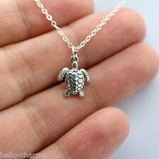 TURTLE NECKLACE - 925 Sterling Silver - Baby Tortoise Reptile Charm Jewelry NEW