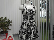 """parisian"" ladies white and black floral dress size 8 b.n.w.t."