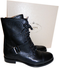 PRADA Combat Black Leather Lace Up Motorcycle Boot Biker Buckles Bootie 37.5 - 7