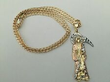 Santa Muerte Gold Plated Necklace and Pendant Three Tone New Holy Death