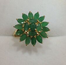 14k Solid Yellow Gold Cluster Ring 3.50CT Natural Emerald Marquise Cut 2.77GM