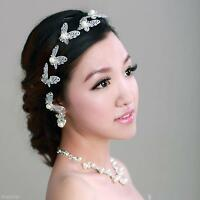Wedding Bridal Bridesmaid Butterfly White Pearl Crystal Hair Pin Hairpin Jewelry