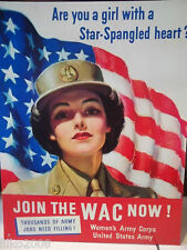 US WOMEN'S ARMY CORPS, METAL WALL SIGN 40X30 CM GIRL SOLDIER,WW2, US FLAG WAC