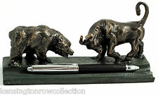 "DESK ACCESSORIES - ""WALL STREET"" DOUBLE PEN HOLDER - PEN STAND - BULL & BEAR"
