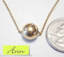 """Signed AVON Necklace, GT Chain & Slide 10 mm Metal Bead w/Rhinestone Accents 16"""""""