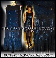 KATE MOSS TOPSHOP BLACK BLUE SEQUIN STRAND FLAPPER DRESS VTG ROARING 20s UK 8 10