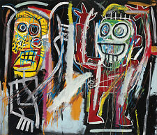 STAMPA SU TELA JEAN MICHEL BASQUIAT DUSTH HEADS 90X80 POP ART WARHOL