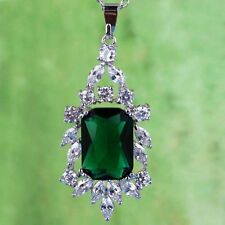 New Gift  Emerald White Gemstone Fashion Jewelry Women Silver Necklace Pendant