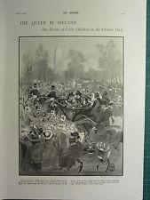1900 VICTORIAN PRINT ~ QUEEN IN IRELAND REVIEW LITTLE CHILDREN PHONIX PARK