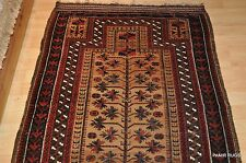 3'x5' Antique turn of the century tribal Beluch authentic Baloch prayer rug