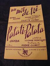 Partition Un mot de toi André Cuiret Patati Patata Music Sheet