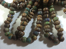 """32/0 Aged Matte Stripes Turqioise Green  Yellow Picasso 8mm Czech Crow Beads 18"""""""