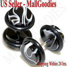 2021 Black Marble Fake Cheater Illusion Faux Ear Plugs 16G Bar 0G = 8mm - 2pcs