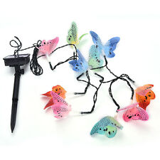 12 Led Solar Powered Butterfly Fiber Optic Fairy String Outdoor Garden Lights to