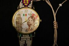 LADIES WATCH, MEXICO FLAG COLOR INSIDE, GIRL, BUILDING, TIED BAND