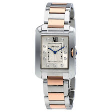 Cartier Tank Anglaise Silver Dial Stainless Steel Ladies Watch WT100032