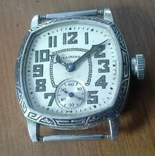 Vintage men's ILLINOIS white GF wristwatch, 307 double roller, runs good,  3X