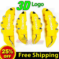 3D Brembo Look Disc Brake Caliper Cover Front 230mm Rear 185mm Universal YELLOW