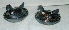 Set/2 Country Hen Chicken Mini Covered Salt Dishes Hen On Nests Carnival Glass