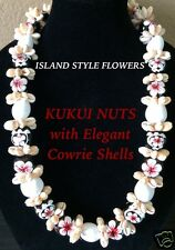 Hawaii Wedding Kukui Nut Lei w/ Cowrie Shell Graduation Luau Necklace-White