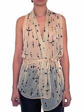 ANN DEMEULEMEESTER F/W 2002 Metal Paillette Silk Wrap Top SIZE 40 FR Sequin