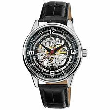 Akribos XXIV Men's 'Saturnos' Skeleton Automatic Silver-Tone Watch