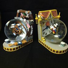 RARE Disney Mickey Donald Goofy CLOCK TOWER CLEANER Bookends Snow Globe-MIB-HTF
