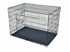 "New Black 42"" 2 Door Pet Cage Folding Dog Cat Crate Cage Kennel w/ABS Tray"