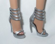 * SHOES ~BARBIE BASIC DOLL MODEL MUSE SILVER SANDALS THE LOOK MATTEL HIGH HEEL