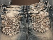 MISS ME Jeans Signature Boot Cut Denim Crystal Fleur De Lei Sz 29, 30, 31 Or 32